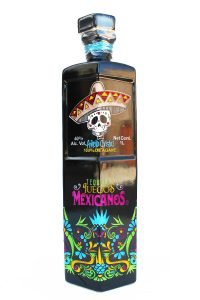Front view of a black premium Anjeo Cristal tequila bottle with a Dia De Los Muertos skull on the front.