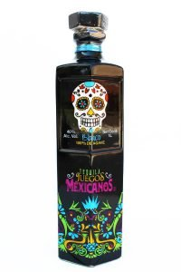 Front view of a black premium Blanco tequila bottle with a Dia De Los Muertos skull on the front..