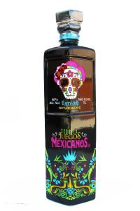 Front view of a black premium Reposado tequila bottle with a Dia De Los Muertos skull on the front.